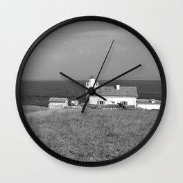 beach front lighthouse medulin croatia istria europe black white Wall Clock