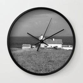 beach front lighthouse medulin croatia istria europe black white Wall Clock