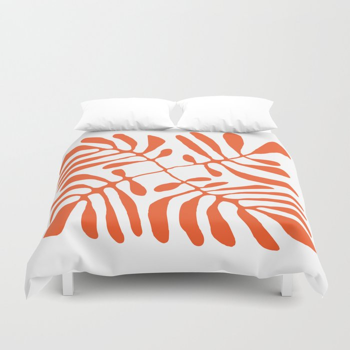 Orange Palm Fronds  Duvet Cover