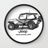 jeep Wall Clocks featuring Jeep by Mister Abigail