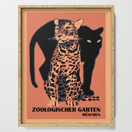 Retro vintage Munich Zoo big cats Serving Tray