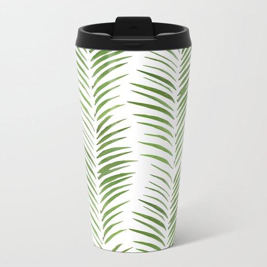 Herringbone Green Nature Pattern Metal Travel Mug