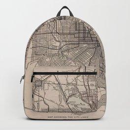 Vintage Baltimore Transit Line Map (1900) Backpack