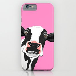 Black & White Cow Portrait on pink iPhone Case