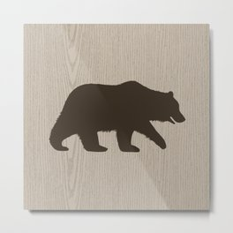 Grizzly Bear Sihouette Metal Print
