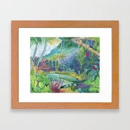 Jungle Paradise Watercolor Framed Art Print
