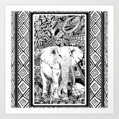 White Elephant Indian Ink Tribal Art Art Print