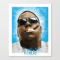 biggie Canvas Prints featuring Biggie by KVNCHRLZ