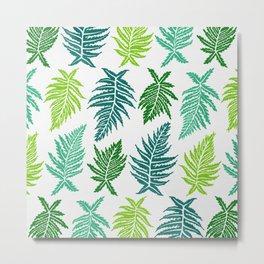 Inked Ferns – Green Palette Metal Print