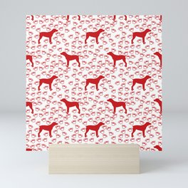 Big Red Dog and Paw Prints Mini Art Print