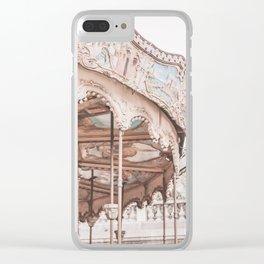 Montmartre Paris Carousel with Sacre Coeur Clear iPhone Case