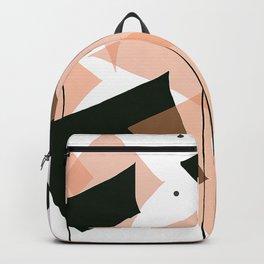 Mid Century Modern Rain Dance- Salmon, Black, and White Backpack
