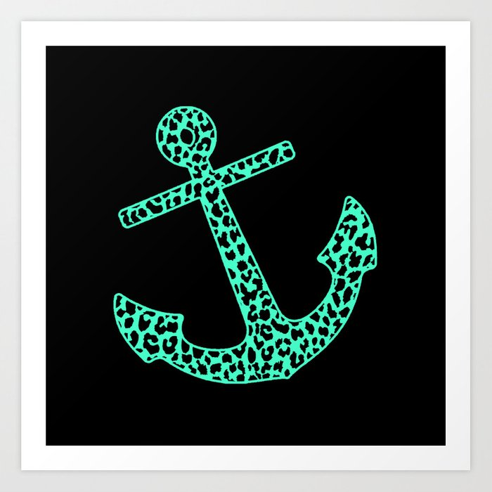 Mint Leopard Anchor Art Print By Mstudio Society6