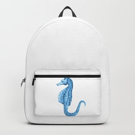 Seahorse nautical blue watercolor Backpack