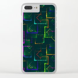 Bright colored carved squares and neon rhombuses for an abstract blue background or pattern. Clear iPhone Case