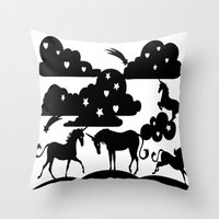 unicorns Throw Pillows featuring unicorns by Paper cut and Printed with love