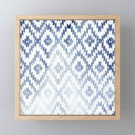 Indigo Ikat Print 3 Framed Mini Art Print