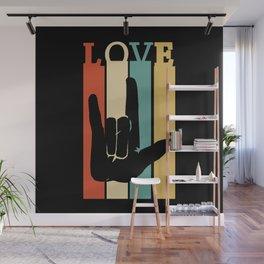 ASL Love Vintage Retro design Sign Language design Wall Mural