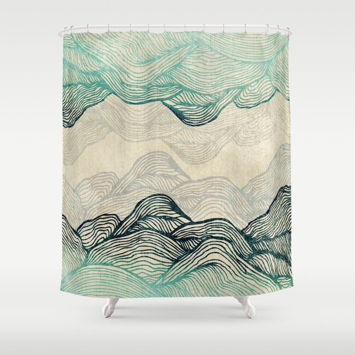 Crash Into Me Waves Shower Curtain