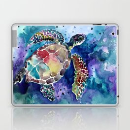 Sea Turtle underwater, beach deep blue barine blue turtle beach style design Laptop & iPad Skin