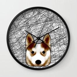 Husky red Wall Clock