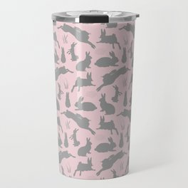 Rabbit Pattern | Rabbit Silhouettes | Bunny Rabbits | Bunnies | Hares | Pink and Grey | Travel Mug