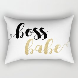 Boss Babe | Gold Glitter Rectangular Pillow
