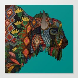 bison teal Canvas Print