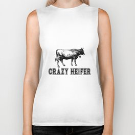 crazy heifer cow farm Biker Tank
