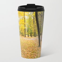 Yellow autumn park. Travel Mug