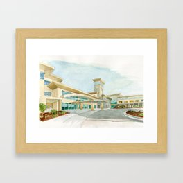 Watercolor Warwick World Headquarters Framed Art Print