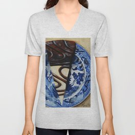 Brownie Cheesecake on Blue Willow Plate Unisex V-Neck