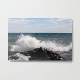 Crashing waves on Lake Superior Shore Metal Print