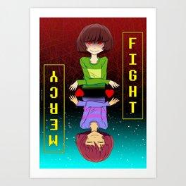 Undertale fight or mercy Art Print