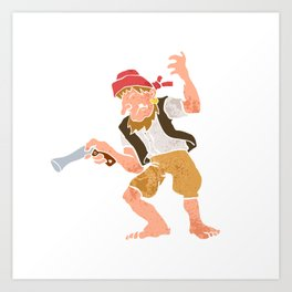 Pirate with Gun Cartoon Art Print