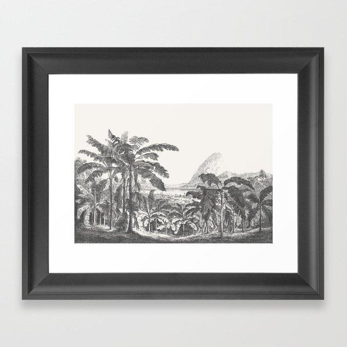 Palms and Mountain Gerahmter Kunstdruck