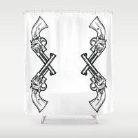 guns Shower Curtains featuring Cross Guns by Dahlia Inspirations