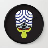 jojo Wall Clocks featuring The Powerpuff Girls - Mojo Jojo by transitoryspace