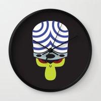 powerpuff girls Wall Clocks featuring The Powerpuff Girls - Mojo Jojo by transitoryspace