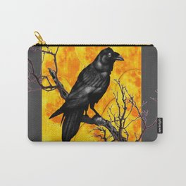 Grey & Gold Pattern  Crow Wildlife Art Carry-All Pouch