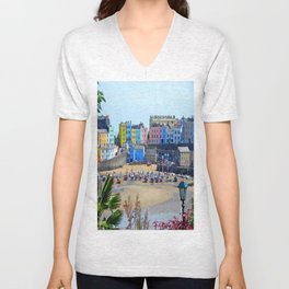 Tenby Harbour.Colour.Reflection. Unisex V-Neck