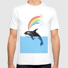 Killer Whale Blows Rainbow Mens Fitted Tee White MEDIUM