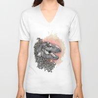 dinosaur V-neck T-shirts featuring Dinosaur by Gemma Goode