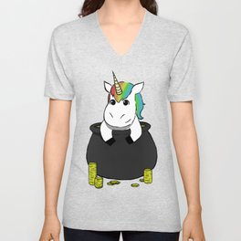Pot of Gold Unicorn Unisex V-Neck
