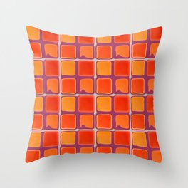 Orange And Purple Retro Abstract Square Pattern Throw Pillow