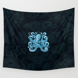Octopus1 (Blue, Square) Wall Tapestry
