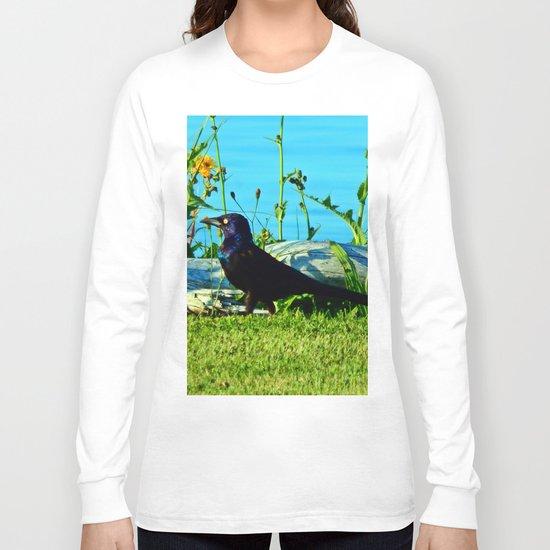 Bright Eyed Black Bird Long Sleeve T-shirt