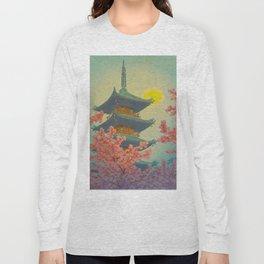 Pagoda, Ueno Park in Spring Evening Kasamatsu Shiro Japanese Woodblock Painting Asian Beautiful Ink Long Sleeve T-shirt