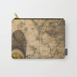 old nautical map with compass Carry-All Pouch