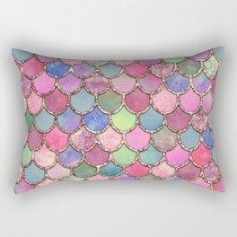 Colorful Pink Mermaid Scales Rectangular Pillow